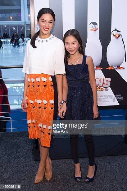 Actress Annet Mahendru and her daughter attend the 'Penguins Of Madagascar' New York Premiere at Winter Village at Bryant Park Ice Rink on November...
