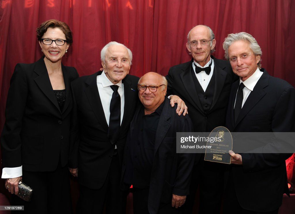 Actress Annette Bening, actor Kirk Douglas, actor Danny Devito, actor Christopher Lloyd and actor Michael Douglas attend SBIFF's 2011 Kirk Douglas Award for Excellence In Film honoring Michael Douglas at the Biltmore Four Seasons on October 13, 2011 in Santa Barbara, California.