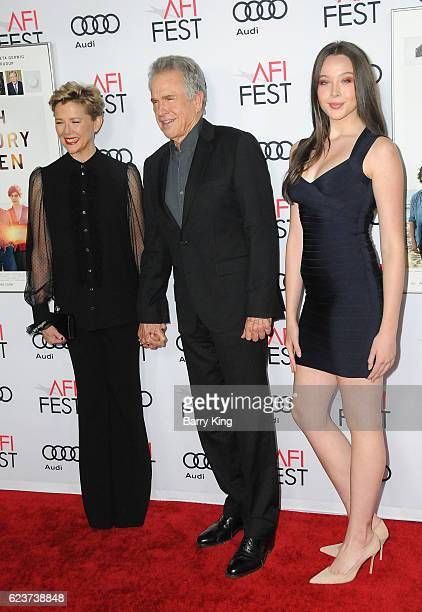 Actress Annette Bening actor/director Warren Beatty and their daughter Ella Beatty attend a tribute to Annette Bening and gala screening of A24's...