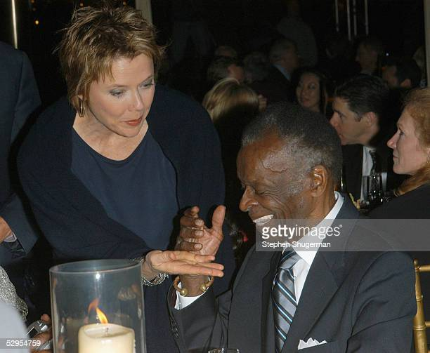 Actress Annette Bening and actor Brock Peters attend the Library Foundation of Los Angeles 2005 Awards Dinner honoring Harper Lee at the City...