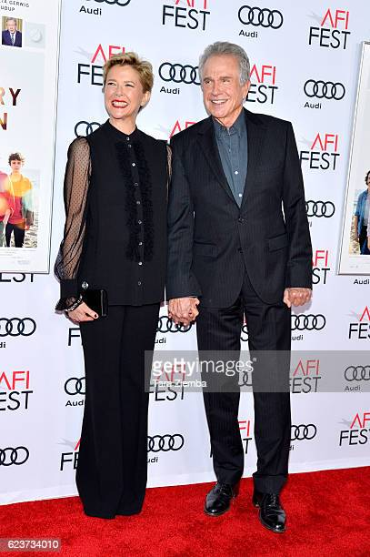 Actress Annette Bening and actor Warren Beatty attend a tribute to Annette Bening and gala screening of A24's '20th Century Women' at AFI Fest 2016...