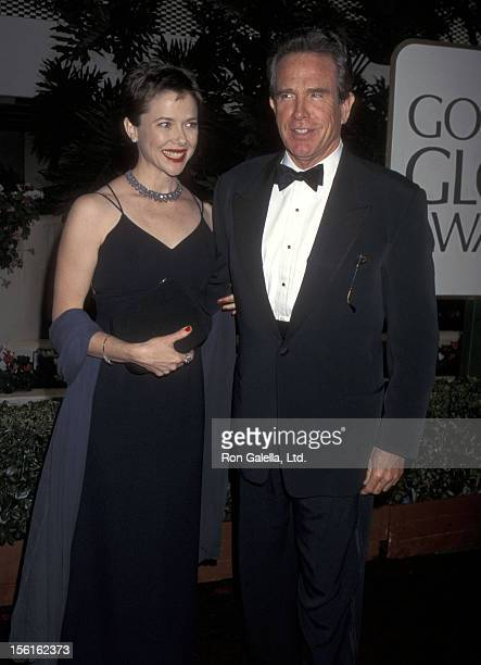 Actress Annette Bening and actor Warren Beatty attend the 53rd Annual Golden Globe Awards on January 21 1996 at Beverly Hilton Hotel in Beverly Hills...