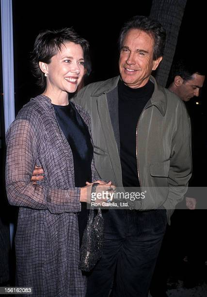 Actress Annette Bening and actor Warren Beatty attend the 'Bulworth' Beverly Hills Premiere on May 4 1998 at Academy of Motion Picture Arts and...