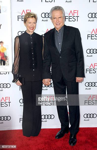 Actress Annette Bening and actor/director Warren Beatty attend a tribute to Annette Bening and gala screening of A24's '20th Century Women' during...