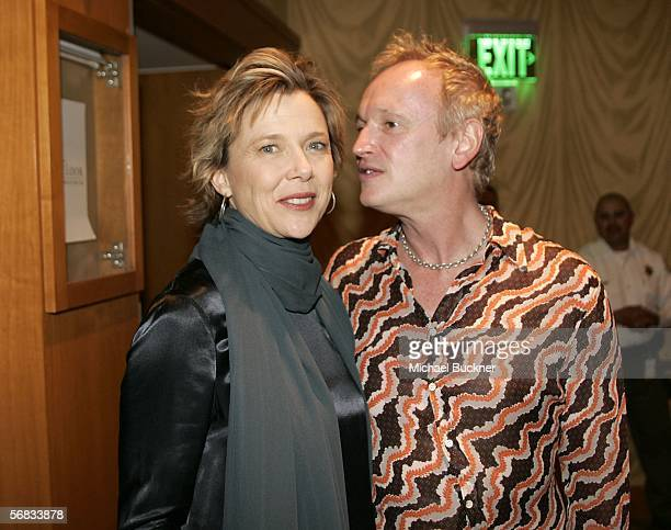 Actress Annette Bening and director Sean Mathias attend the after party for the opening of The Cherry Orchard at the Mark Taper Forum on February 12...
