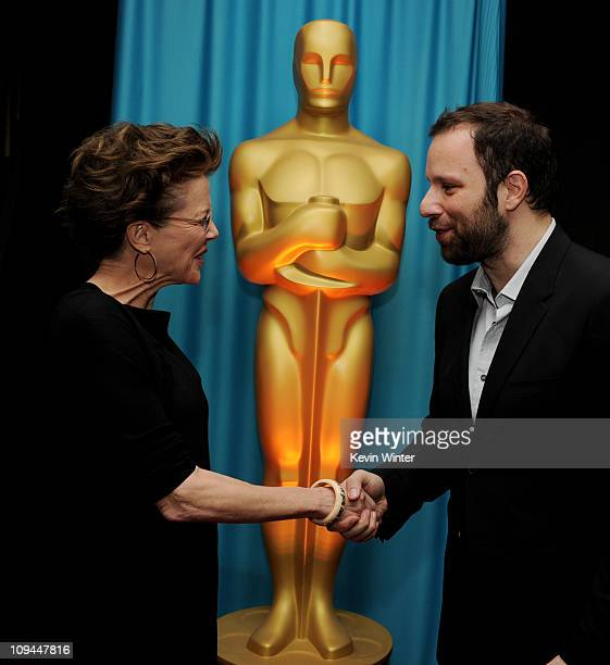 Actress Annette Bening and director Yorgos Lanthimos at a reception to honor the Foreign Language Film Award directors at the Academy of Motion...