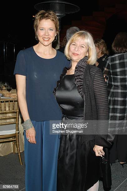Actress Annette Bening and Library Fountain's Fontaine Holmes attend the Library Foundation of Los Angeles 2005 Awards Dinner honoring Harper Lee at...