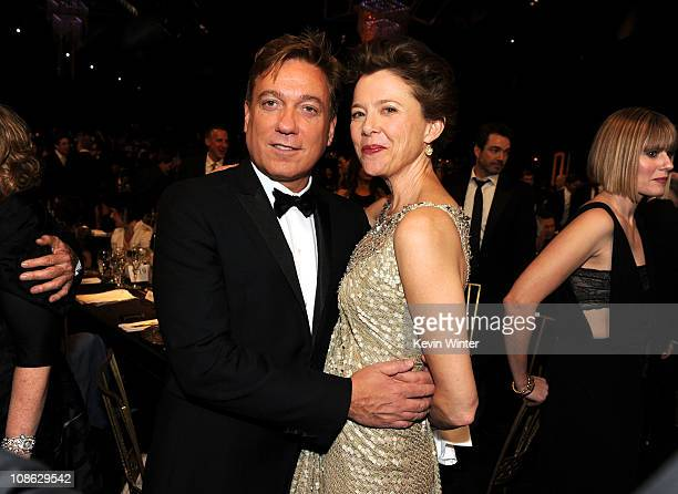 Actress Annette Bening and Managing Partner of CAA Kevin Huvane attend the cocktail reception during the 17th Annual Screen Actors Guild Awards held...