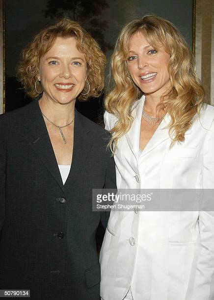 Actress Annette Bening and Model Marla Maples attend Senator Barbara Boxer's Women Making History Honors Annette Bening at the St Regis Hotel on...