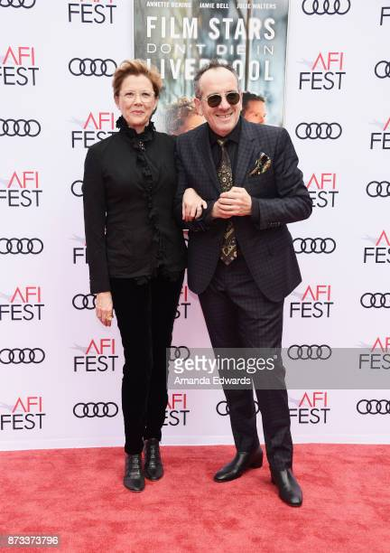 Actress Annette Bening and musician Elvis Costello arrive at the AFI FEST 2017 Presented By Audi screening of 'Film Stars Don't Die In Liverpool' at...