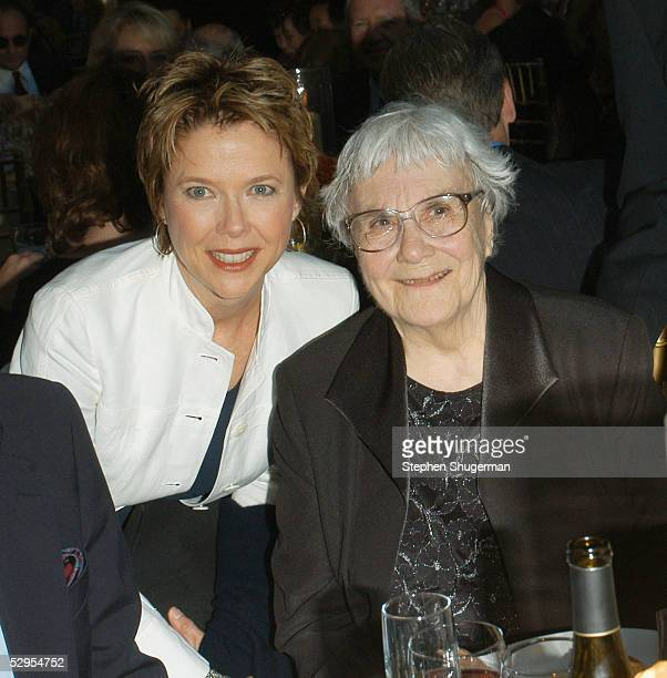 Actress Annette Bening and writer Harper Lee attend the Library Foundation of Los Angeles 2005 Awards Dinner honoring Harper Lee at the City National...