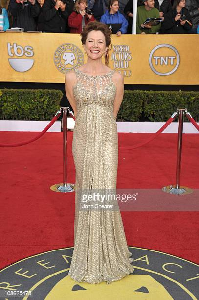 Actress Annette Bening arrives at the TNT/TBS broadcast of the 17th Annual Screen Actors Guild Awards held at The Shrine Auditorium on January 30,...