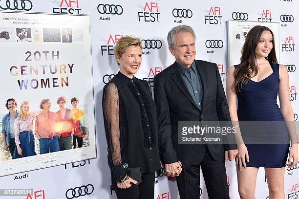 Actress Annette Bening director/actor Warren Beatty and Ella Beatty attend 20th Century Women at AFI Fest 2016 presented by Audi at The Chinese...