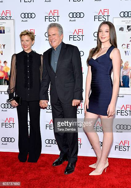 Actress Annette Bening Ella Beatty and actor Warren Beatty attend a tribute to Annette Bening and gala screening of A24's 20th Century Women at AFI...
