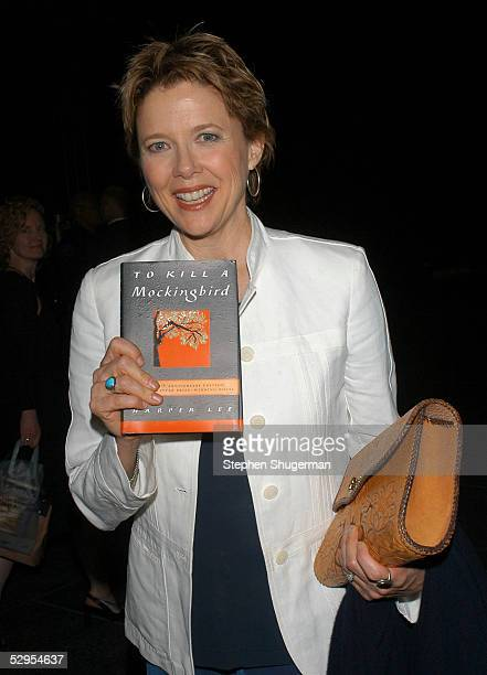 Actress Annette Bening holds a copy of Harper Lee's book 'To Kill A Mockingbird' at the Library Foundation of Los Angeles 2005 Awards Dinner honoring...
