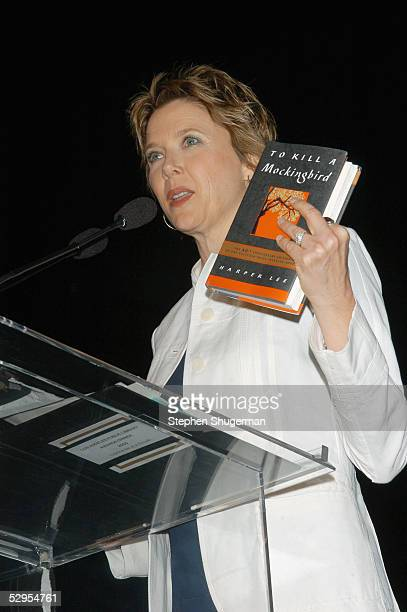 Actress Annette Bening holds a copy of Harper Lee's book 'To Kill A Mockingbird' while speaking at the Library Foundation of Los Angeles 2005 Awards...