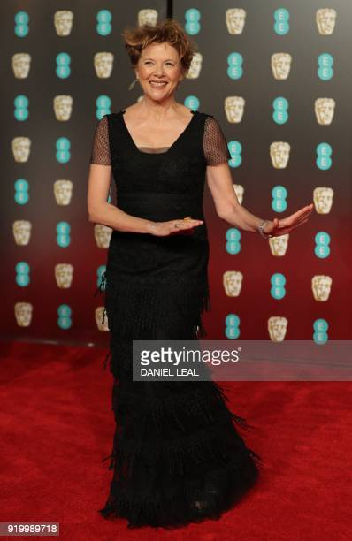 US actress Annette Bening poses on the red carpet upon arrival at the BAFTA British Academy Film Awards at the Royal Albert Hall in London on...