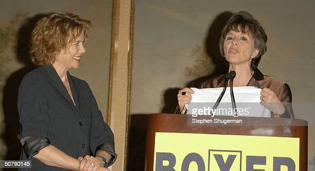 Actress Annette Bening receives a Boxer for Senate TShirt from Senator Barbara Boxer at Senator Barbara Boxer's Women Making History Honors Annette...