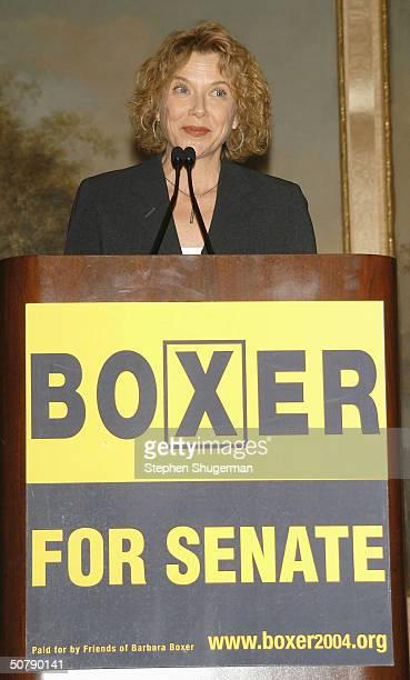 Actress Annette Bening speaks at Senator Barbara Boxer's Women Making History Honors Annette Bening at the St Regis Hotel on April 30 2004 in Century...