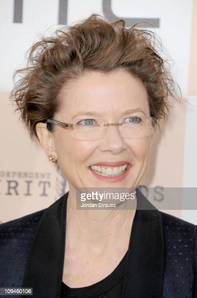 Actress Annette Bening wearing Piaget arrives at the 2011 Film Independent Spirit Awards at Santa Monica Beach on February 26 2011 in Santa Monica...