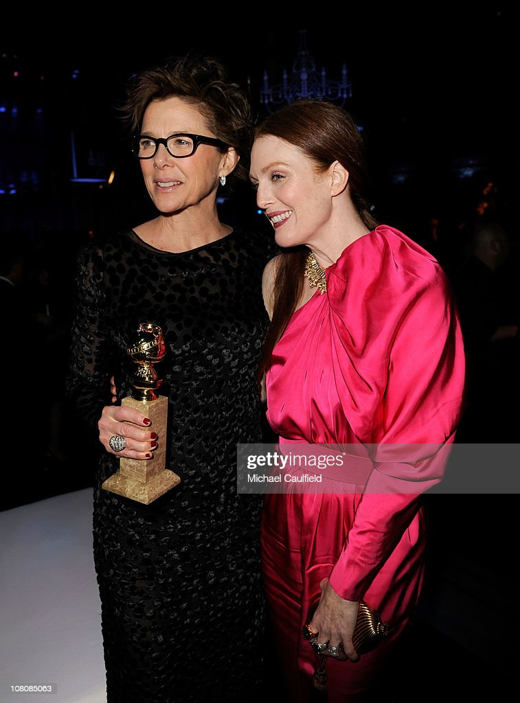 Actress Annette Bening, winner of Best Performance by an Actress in a Motion Picture (Musical Comedy) for 'The Kids Are All Right,' and actress Julianne Moore arrive at NBCUniversal/Focus Features Golden Globes Viewing and After Party sponsored by Chrysler held at The Beverly Hilton hotel on January 16, 2011 in Beverly Hills, California.