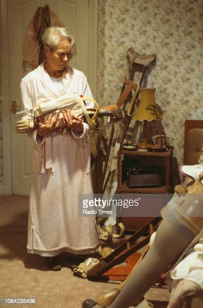 Actress Annette Crosbie in a scene from the Christmas special episode 'Starbound' of the BBC Television sitcom 'One Foot in the Grave' 1996