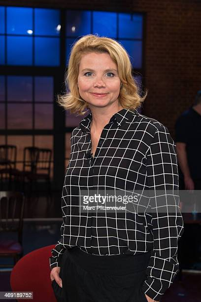 Actress Annette Frier attends the 'Koelner Treff' TV Show at the WDR Studio on April 10, 2015 in Cologne, Germany.