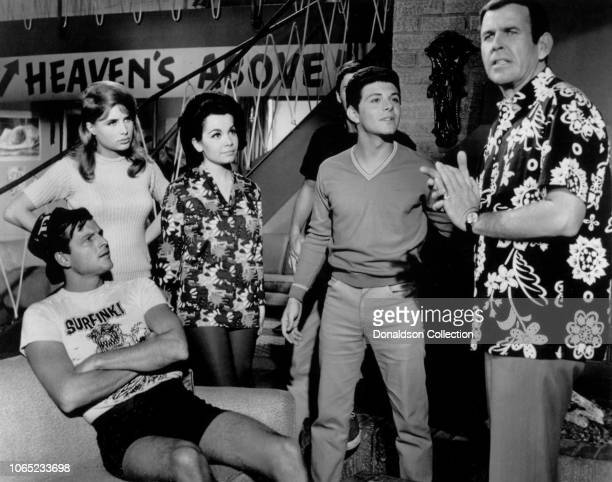 Actress Annette Funicello and Frankie Avalon in a scene from the movie Beach Blanket Bingo