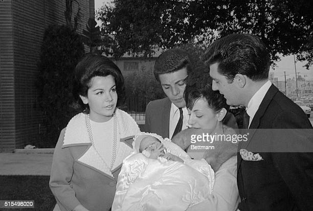 Actress Annette Funicello is shown outside of the St. Cyril's church after her daughter was baptized Gina Luree 11/21. Singer Frankie Avalon acted as...