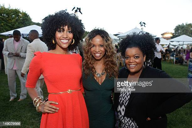 Actress Annie Ilonzeh actress Elise Neal and actress Yvette Nicole Brown attend the HollyRod Foundation's 14th Annual Design Care on July 21 2012 in...