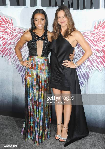 Actress Annie Ilonzeh and actress Jennifer Garner arrive for the Premiere Of STX Entertainment's Peppermint held at Stadium 14 on August 28 2018 in...