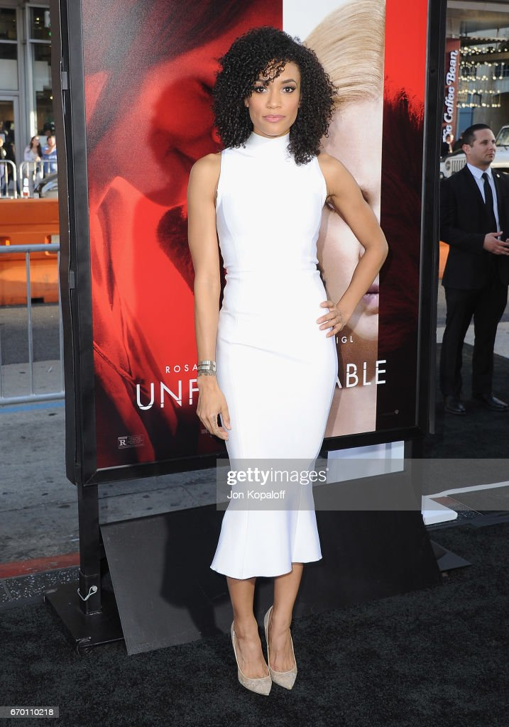 Actress Annie Ilonzeh arrives at the Los Angeles Premiere 'Unforgettable' at TCL Chinese Theatre on April 18, 2017 in Hollywood, California.