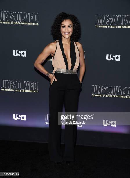 Actress Annie Ilonzeh arrives at the premiere of USA Network's 'Unsolved The Murders of Tupac and The Notorious BIG' at Avalon on February 22 2018 in...