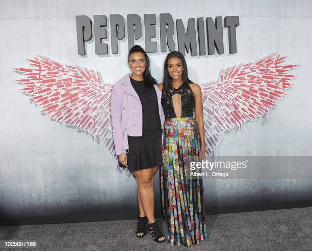 Actress Annie Ilonzeh with sister arrive for the Premiere Of STX Entertainment's Peppermint held at Stadium 14 on August 28 2018 in Los Angeles...