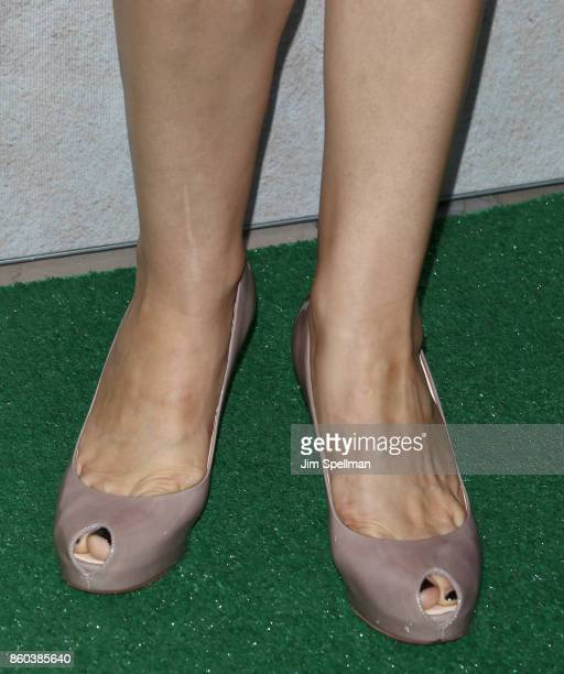 Actress Annie Parisse shoe detail attends the 'Good Bye Christopher Robin' New York special screening at The New York Public Library on October 11...