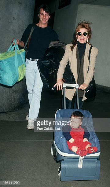 Actress Annie Potts husband James Hayman and son Doc Hayman being photographed on January 21 193 at the Los Angeles International Airport in Los...