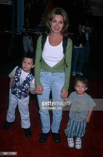Actress Annie Potts sons Doc Hayman and Harry Hayman attending 'Canine Carnival for Video Release of Lady and the Tramp' on September 15 1998 at...