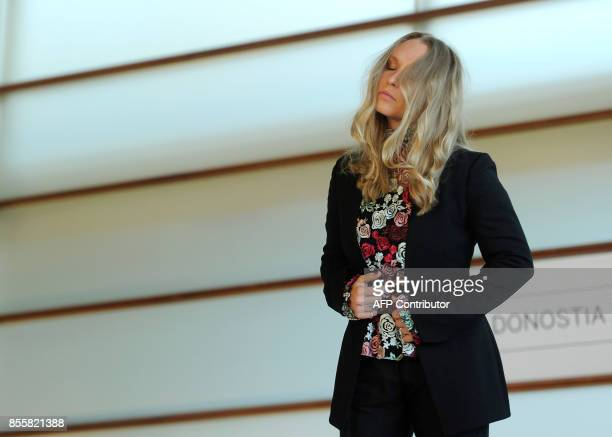 US actress Annie Starke poses during a photocall to promote her film The Wife during the 65th San Sebastian Film Festival in the northern Spanish...