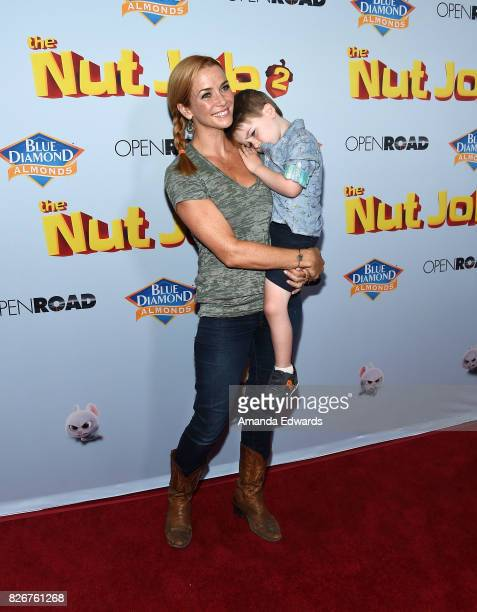 "Actress Annie Wersching and her son Ozzie Wersching Full arrive at the premiere of Open Road Films' ""The Nut Job 2: Nutty By Nature"" at the Regal..."
