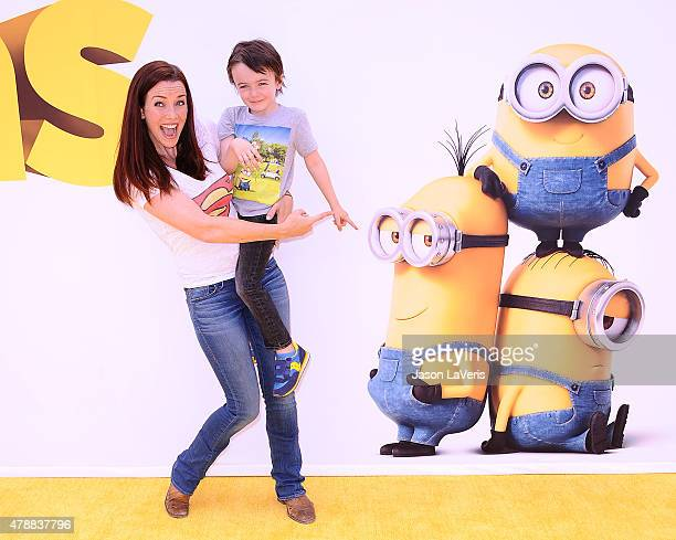 Actress Annie Wersching and son Freddie Wersching Full attend the premiere of 'Minions' at The Shrine Auditorium on June 27 2015 in Los Angeles...