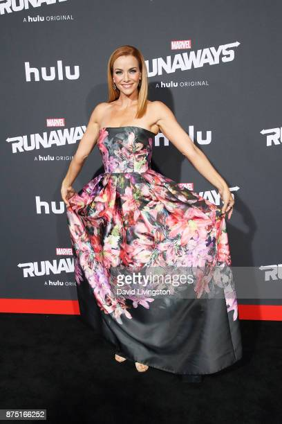 Actress Annie Wersching arrives at the premiere of Hulu's 'Marvel's Runaways' at the Regency Bruin Theatre on November 16 2017 in Los Angeles...