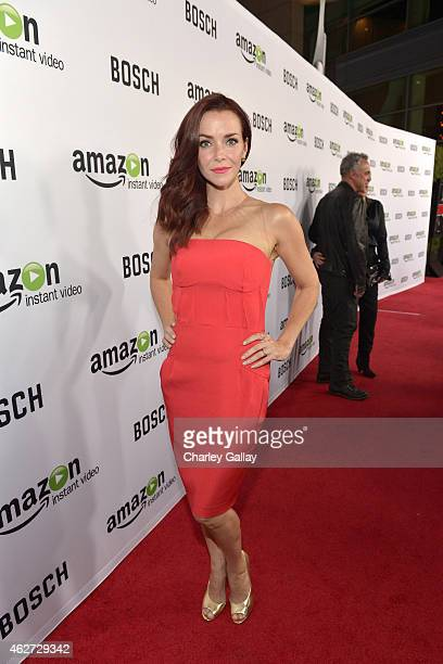 Actress Annie Wersching arrives for the red carpet premiere screening for Amazon's first original drama series 'Bosch' at ArcLight Cinemas Cinerama...