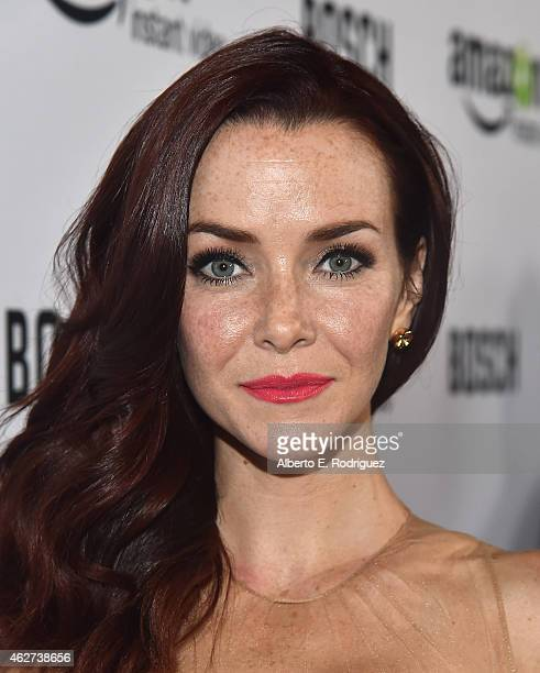 Actress Annie Wesching arrives for the red carpet premiere screening for Amazon's first original drama series 'Bosch' at The Dome at Arclight...