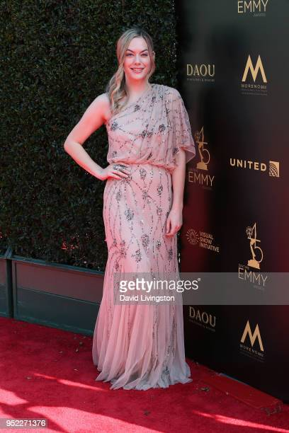 Actress Annika Noelle attends the 45th Annual Daytime Creative Arts Emmy Awards at Pasadena Civic Auditorium on April 27 2018 in Pasadena California