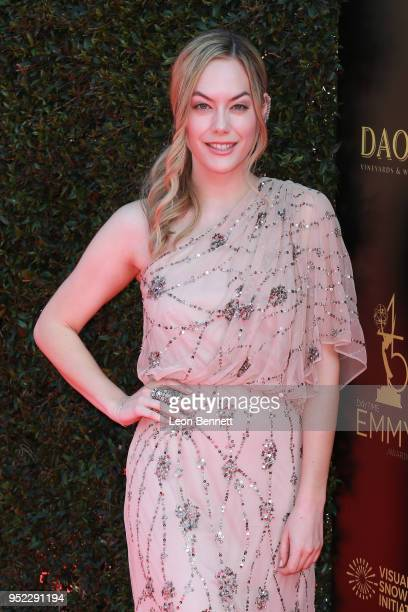 Actress Annika Noelle attends the 45th Annual Daytime Creative Arts Emmy Awards Arrivals at Pasadena Civic Auditorium on April 27 2018 in Pasadena...