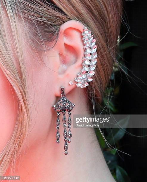 Actress Annika Noelle earring detail attends the 45th Annual Daytime Creative Arts Emmy Awards at Pasadena Civic Auditorium on April 27 2018 in...