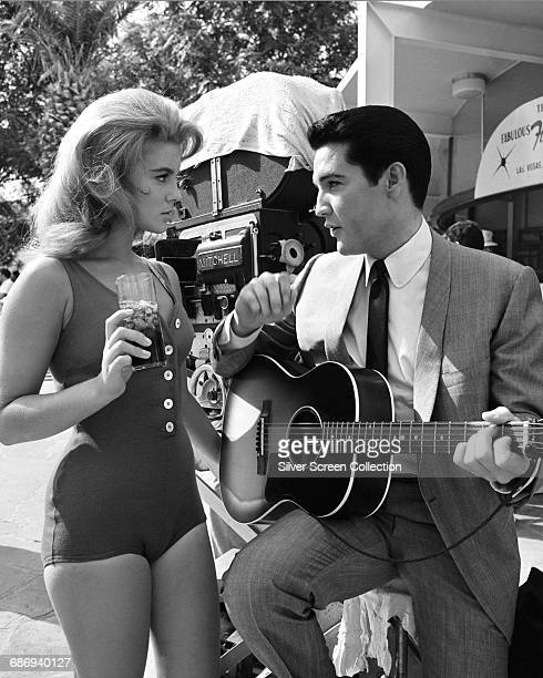 Actress AnnMargret and actor and singer Elvis Presley on the set of the film 'Viva Las Vegas' 1964