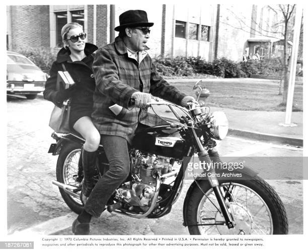 Actress AnnMargret and actor Anthony Quinn on set of the movie 'RPM' in 1970