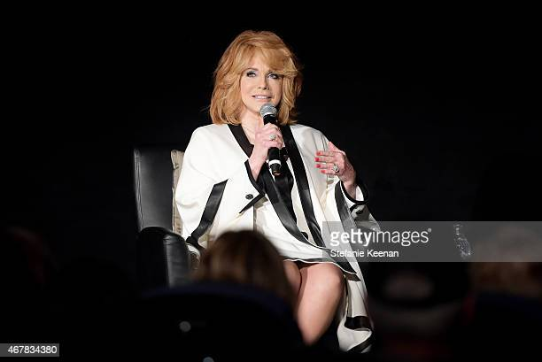 Actress AnnMargret speaks onstage before the screening of 'The The Cincinnati Kid' during day two of the 2015 TCM Classic Film Festival on March 27...