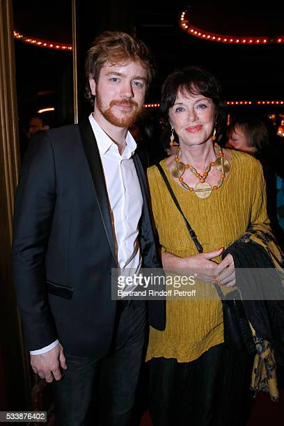 Actress Anny Duperey and her son Gael Giraudeau attend La 28eme Nuit des Molieres on May 23 2016 in Paris France